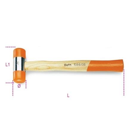 Maillet a embouts nylon manche en bois BETA TOOLS 1390