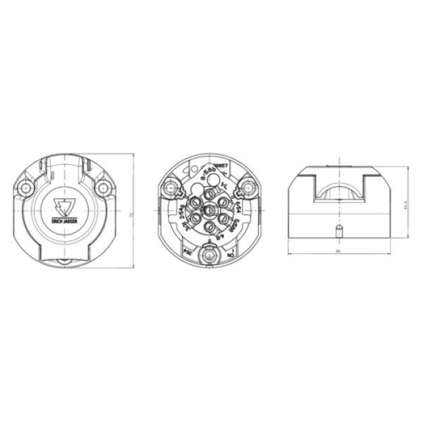 Socle de prise 7P/12V - ISO 1724 - Type N ERICH JAEGER 101285-2