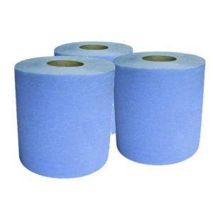 6 rouleaux essuie-mains formats 25 cm ouate bleu H770POT