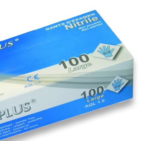 1000 Gants nitrile non poudrés - Grade A-AQL 1.5 naturel Q315Z