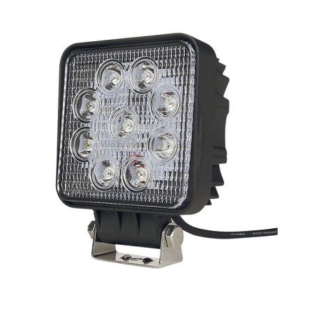 Phare de travail carré 9 LED, 27W
