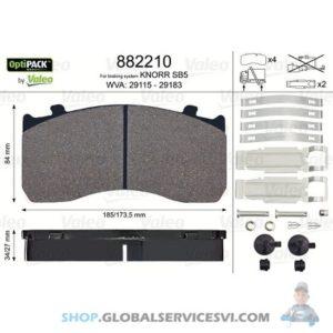 Kit de plaquettes de frein, frein à disqueOPTIPACK - VALEO 882210