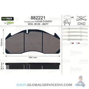 Kit de plaquettes de frein, frein à disqueOPTIPACK - VALEO 882221