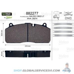Kit de plaquettes de frein, frein à disqueOPTIPACK - VALEO 882277