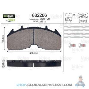 Kit de plaquettes de frein, frein à disqueOPTIPACK - VALEO 882286