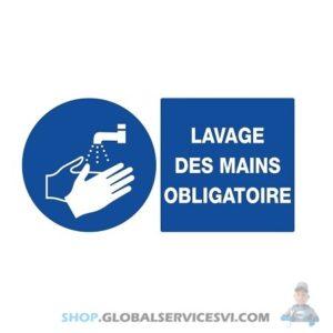 """Panneau """"lavage des mains obligatoire"""" - SODISE 61504"""