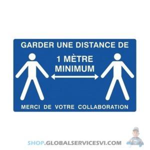 """Panneau """"garder une distance de 1m minimum"""" adhésif - SODISE 61514"""