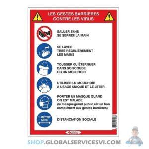 """Panneau """"5 gestes barrières"""" adhésif - SODISE 61516"""