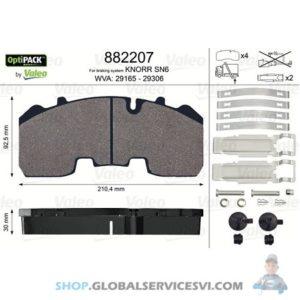 Kit de plaquettes de frein, frein à disque OPTIPACK - VALEO 882207