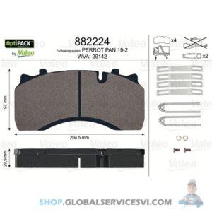 Kit de plaquettes de frein, frein à disque OPTIPACK - VALEO 882224