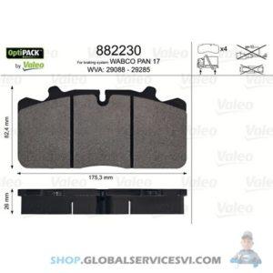 Kit de plaquettes de frein, frein à disque OPTIPACK - VALEO 882230