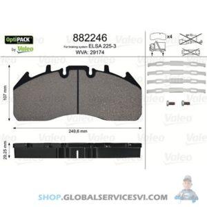 Kit de plaquettes de frein, frein à disque OPTIPACK - VALEO 882246