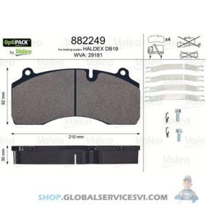 Kit de plaquettes de frein, frein à disque OPTIPACK - VALEO 882249