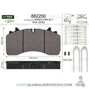 Kit de plaquettes de frein, frein à disque OPTIPACK - VALEO 882250