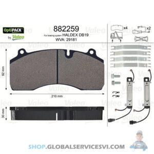 Kit de plaquettes de frein, frein à disque OPTIPACK - VALEO 882259