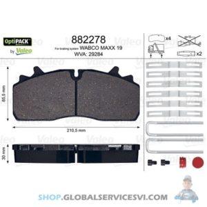 Kit de plaquettes de frein, frein à disque OPTIPACK - VALEO 882278