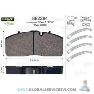 Kit de plaquettes de frein, frein à disque OPTIPACK - VALEO 882284